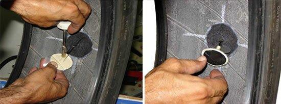 """Как заклеить колесо используя заплатку в виде """"грибка"""""""